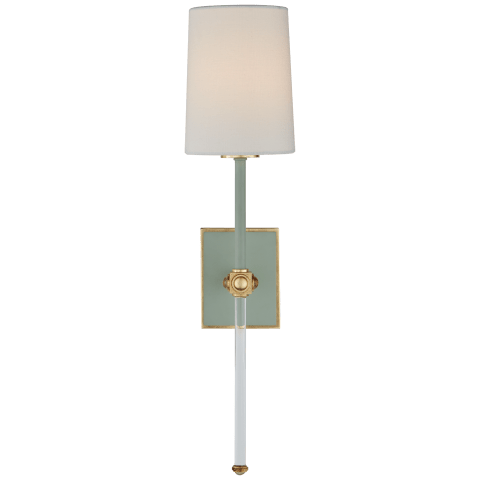 Lucia Medium Tail Sconce in Celadon and Crystal with Linen Shade