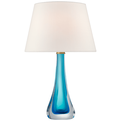 Christa Large Table Lamp in Cerulean Blue Glass with Linen Shade