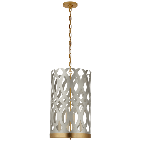Ingrid Tall Chandelier in Burnished Silver Leaf and Gild