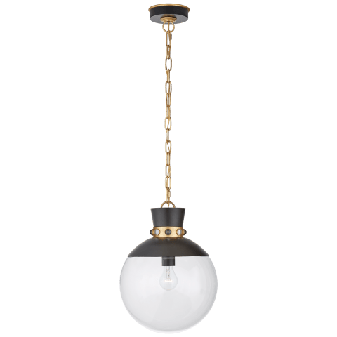 Lucia Medium Pendant in Matte White and Gild with Clear Glass