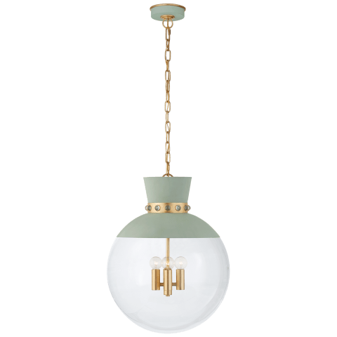 Lucia Large Pendant in Celadon and Gild with Clear Glass