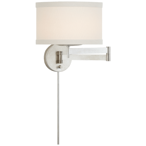 Walker Swing Arm Sconce in Burnished Silver Leaf with Cream Linen Shade