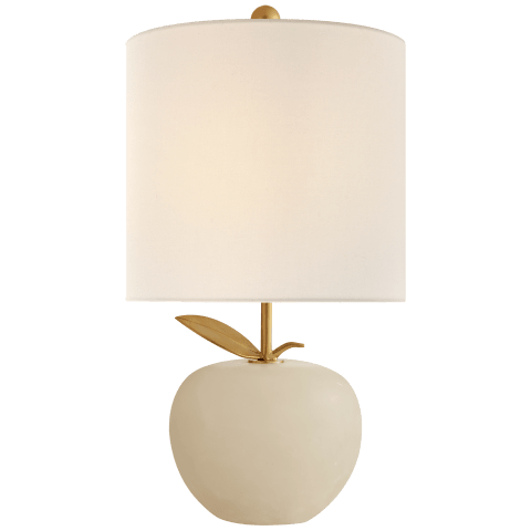 Orchard Mini Accent Lamp in Alabaster with Linen Shade