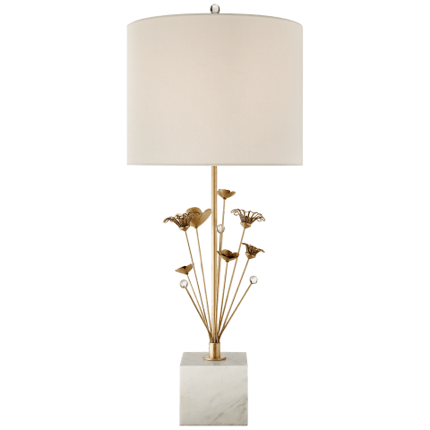 Keaton Bouquet Table Lamp in Gild and White Marble with Cream Linen Shade