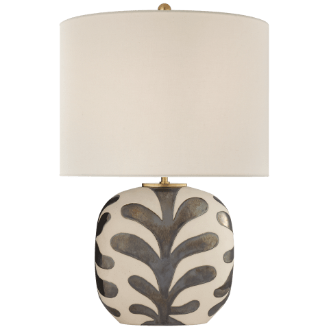 Parkwood Medium Table Lamp in Natural Bisque and Black Pearl with Linen Shade