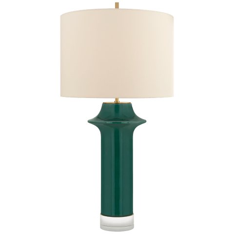 Giry Large Peaked Table Lamp in Emerald Crackle with Linen Shade