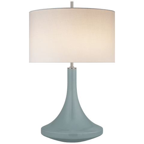 Minola Medium Table Lamp in Pale Mint with Linen Shade