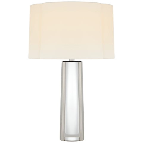 Thoreau Medium Table Lamp in Crystal and Polished Nickel with Linen Shade