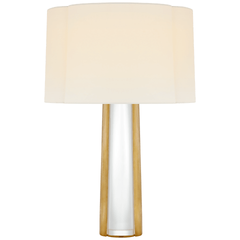 Thoreau Medium Table Lamp in Crystal and Soft Brass with Linen Shade