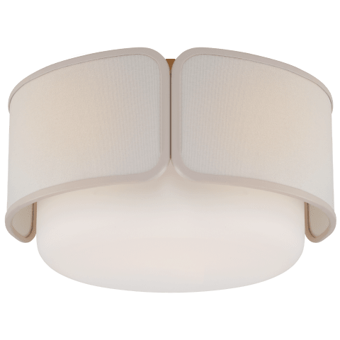 Eyre Medium Flush Mount in Soft Brass and Soft White Glass with Linen with Cream Trimmed Shade