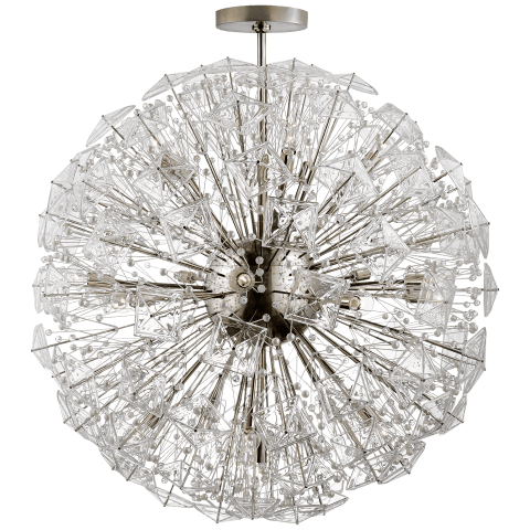Dickinson Grande Chandelier  in Polished Nickel with Clear Glass and Cream Pearls