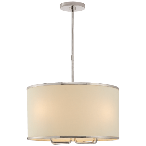 Larabee Hanging Shade in Polished Nickel with Cream Linen Shade