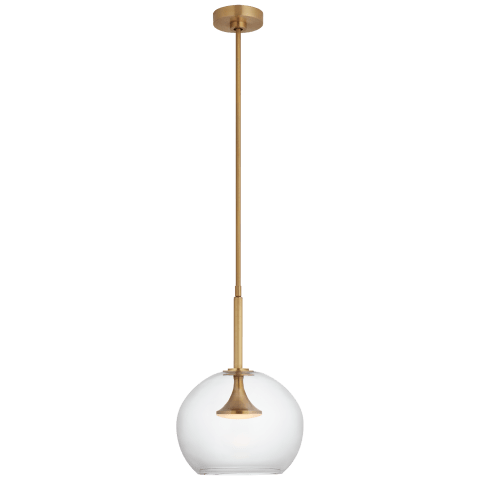 "Rochester 12"" Globe Pendant in Soft Brass with Clear Glass"