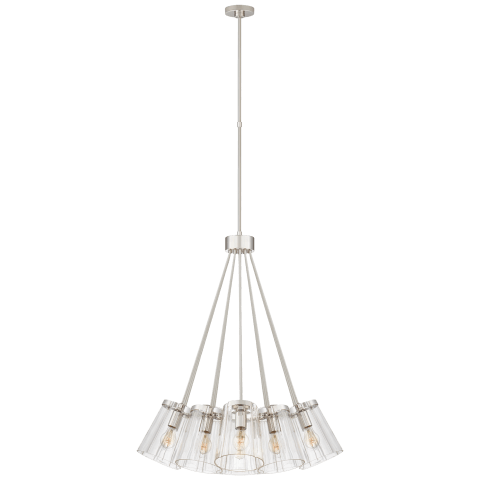 Thoreau Large Chandelier in Polished Nickel and Cream with Clear Glass