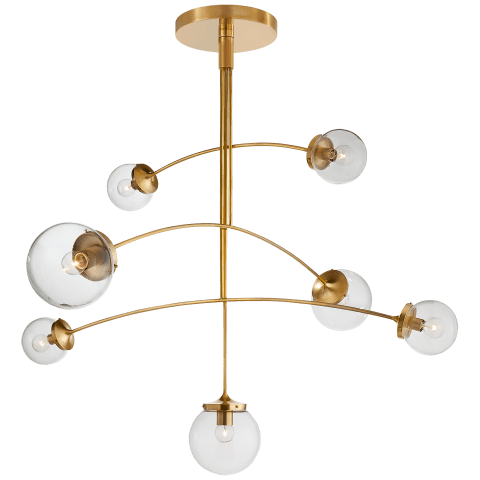 Prescott Large Mobile Chandelier in Soft Brass with Clear Glass