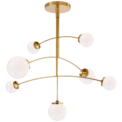 Prescott Large Mobile Chandelier in Soft Brass with White Glass