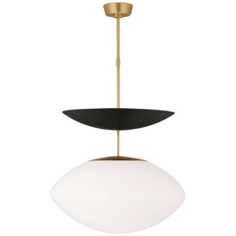 Boswell Large Pendant in Gild and Matte Black with White Glass