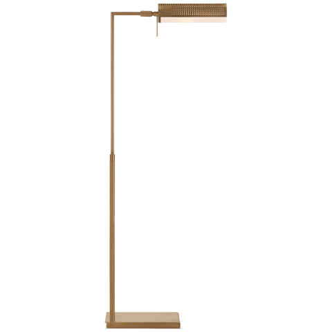 Precision Pharmacy Floor Lamp in Antique-Burnished Brass with White Glass