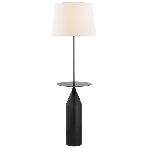 Zephyr Large Floor Light in Aged Iron with Linen Shade