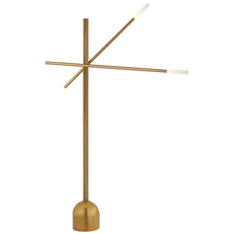 Rousseau Double Boom Arm Floor Lamp in Antique-Burnished Brass with Etched Crystal