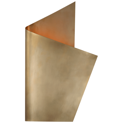 Pelle Right Wrapped Sconce in Antique-Burnished Brass