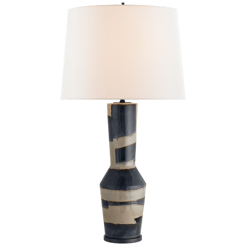 Alta Table Lamp in Sand and Wide Black Stripe with Linen Shade