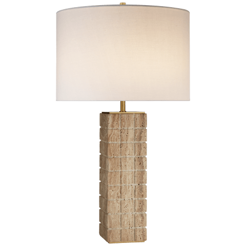 Pietra Large Hand Carved Table Lamp in Limestone with Linen Shade