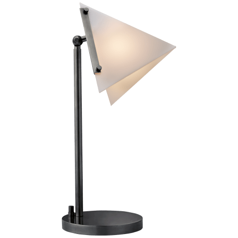 Forma Round Base Table Lamp in Bronze with White Glass