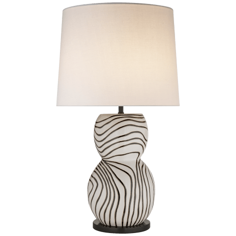 Balla Large Hand-Painted Table Lamp in White and Black Stripe with Linen Shade