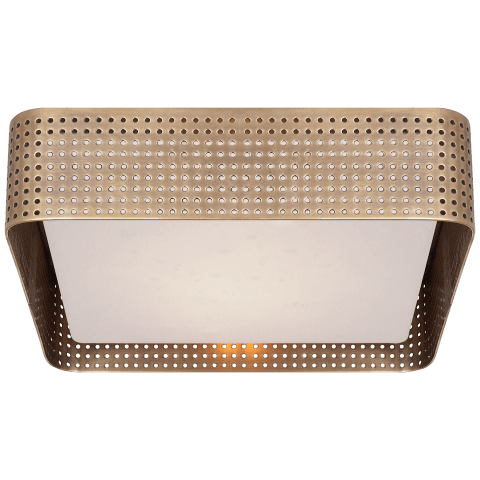 Precision Large Square Flush Mount in Antique-Burnished Brass with Clouded Glass