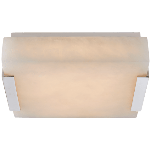 Covet Small Flush Mount in Polished Nickel with Alabaster