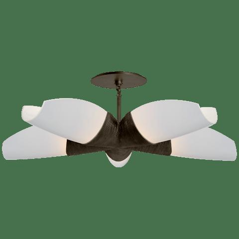 Utopia Medium 5 Arm Chandelier in Gild with White Glass