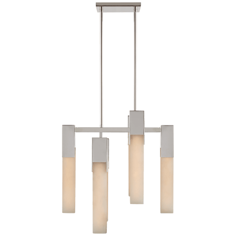 Covet Small Chandelier in Polished Nickel with Alabaster