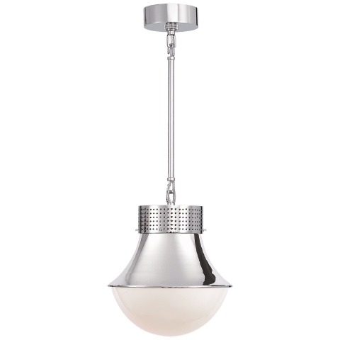 Precision Small Pendant in Polished Nickel with White Glass