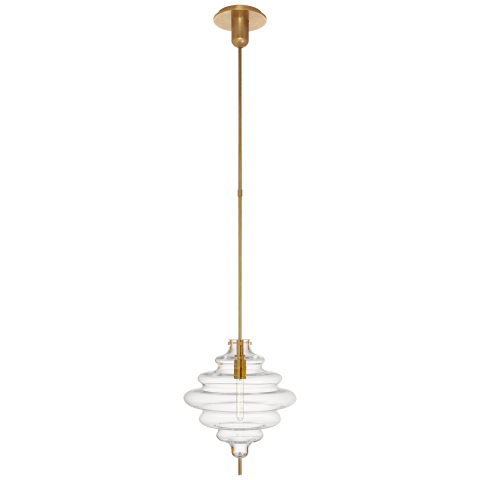 Tableau Medium Pendant in Antique-Burnished Brass with Clear Glass
