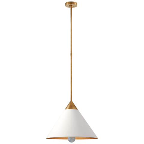 Cleo Pendant in Antique-Burnished Brass and Antique White with Frosted Acrylic