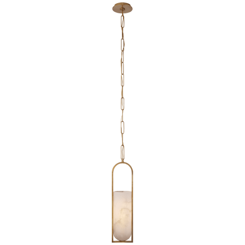 Melange Small Elongated Pendant in Antique-Burnished Brass with Alabaster Shade