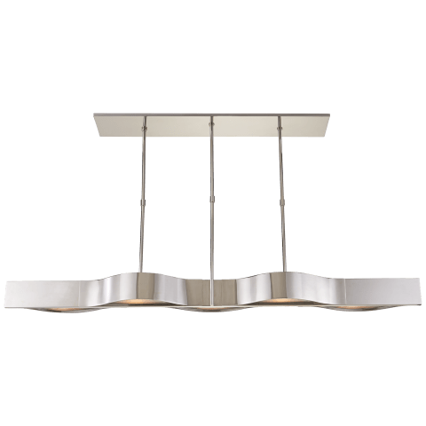 Avant Large Linear Pendant in Polished Nickel with Frosted Glass