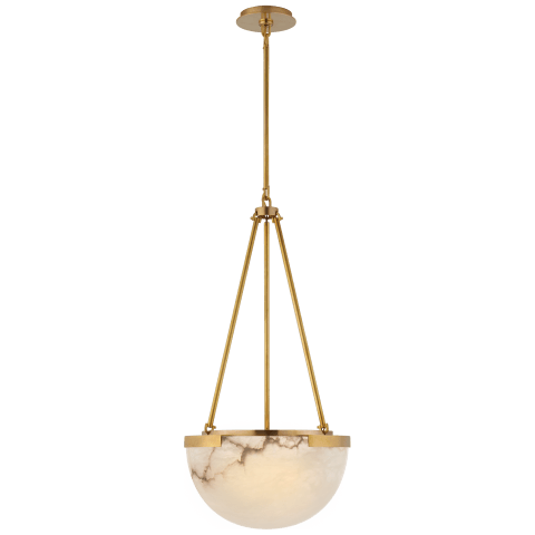 Melange Small Pendant in Antique-Burnished Brass with Alabaster