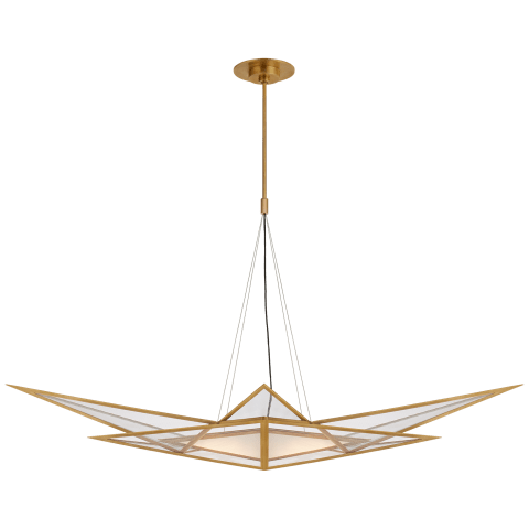 Ori Medium Linear Chandelier in Antique-Burnished Brass with Clear Lined Glass