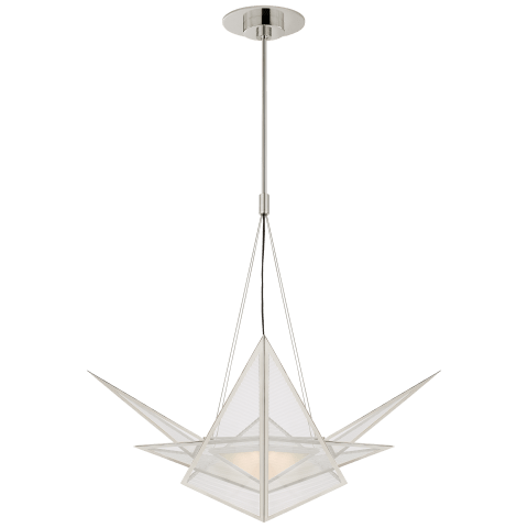 Ori Medium Chandelier in Polished Nickel with Clear Lined Glass