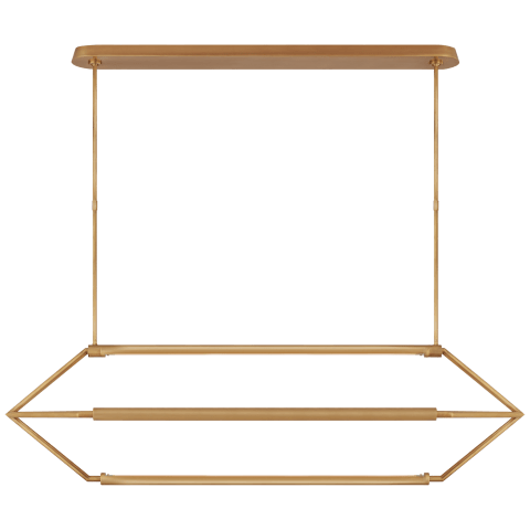 Appareil Large Linear Lantern in Antique-Burnished Brass