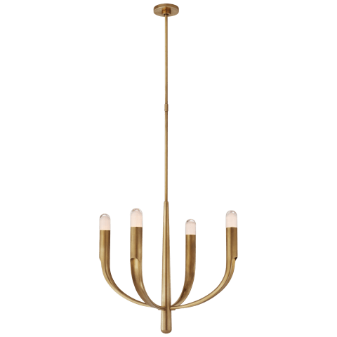 Verso Small Chandelier in Antique-Burnished Brass with Clear Glass