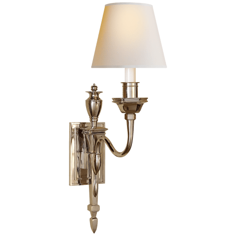 Winslow Single Sconce in Polished Nickel with Natural Paper Shade