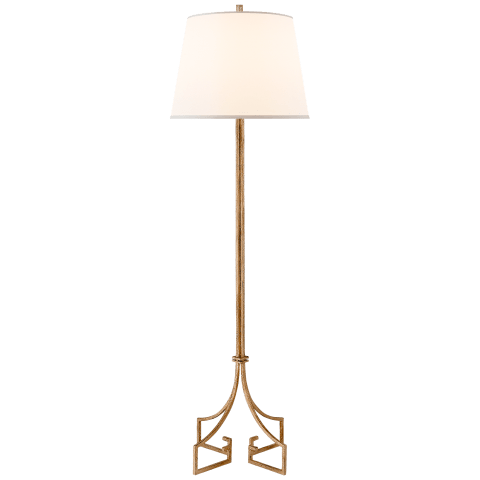 Rhodes Floor Lamp in Venetian Gold with Silk Shade