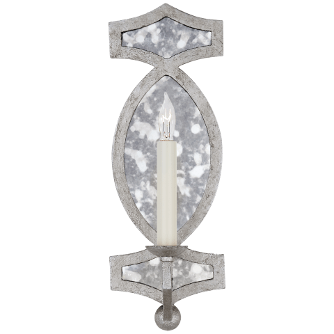 Brittany Single Sconce in Venetian Silver with Antique Mirror