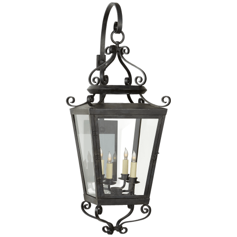 Lafayette Large Bracketed Lantern in French Rust with Clear Glass