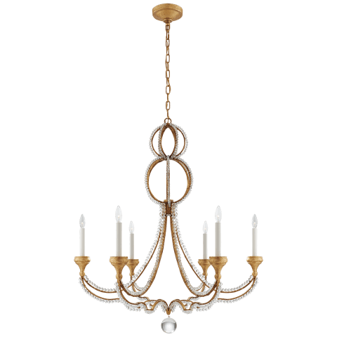 Milan Large Chandelier in Venetian Gold with Crystal