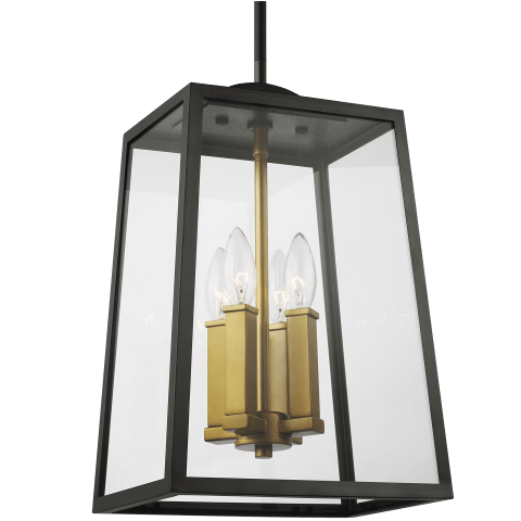 Lindbergh 4 - Light Hanging Lantern Antique Bronze / Painted Burnished Brass