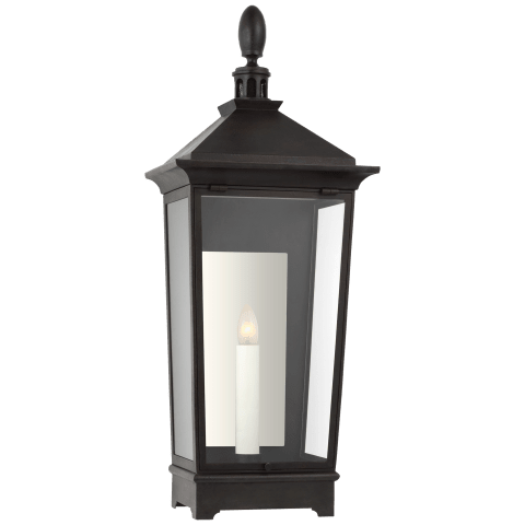 Rosedale Classic Small Tall 3/4 Wall Lantern in French Rust with Clear Glass